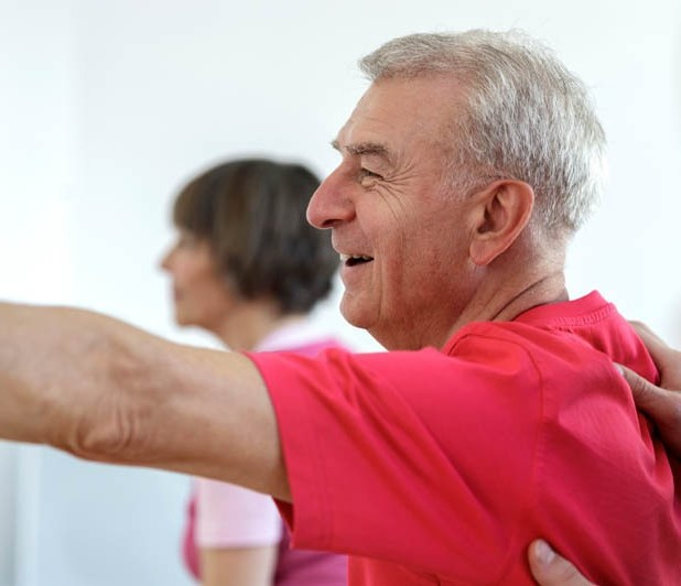 Group of seniors in a Yoga Class, Assisted Living