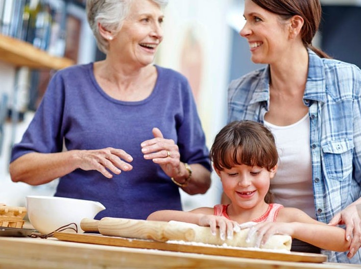 Three generational family baking together