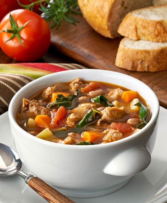 Bowl of Minestrone soup with low fat turkey or chicken sausge.