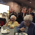 Friendly's staff singing Happy Birthday to Shirley (the one with the big smile on her face). She said what a way to spend my birthday. Great night for all.