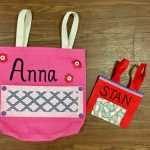 Anna and Stan's walker bags! The guys had some sports & patriotic materials to choose from, too!