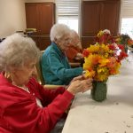 Hard at work! The ladies were extremely concentrated as they perfected their arrangement.