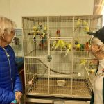 Audrey and Shirley loved watching the colorful birds!