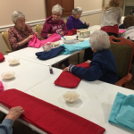 Residents beginning to make their aromatherapy wraps!