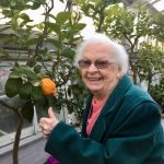 Shirley gives a big thumbs up next to the citrus tree!